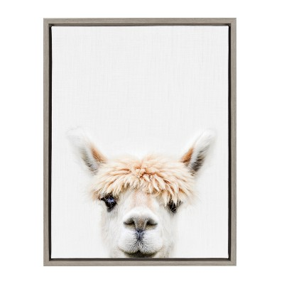 Kate & Laurel 24 x18  Sylvie Alpaca Bangs Animal Print Portrait By Amy Peterson Framed Wall Canvas Gray