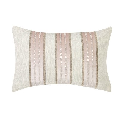 14x22 Melange Beaded Stripe Large Pillow White/Pink/Gray - Charisma