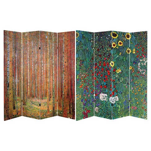 Klimt Fine Art Double Sided Room Divider Tannenwald and Farm Garden - Oriental Furniture - image 1 of 3