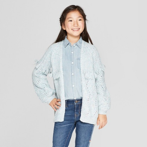 Girls' Open Layering Sweater With Tassels - Cat & Jack™ Aqua - image 1 of 3