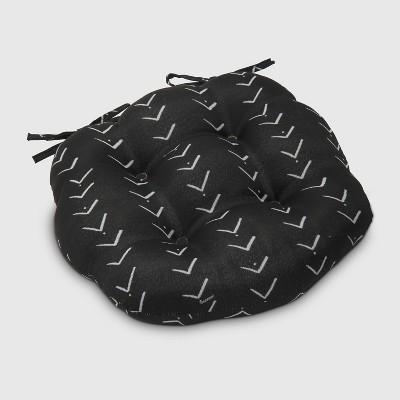 Vee Stripe Round Outdoor Tufted Seat Cushion Black - Opalhouse™