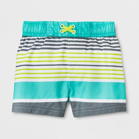 Baby Boys' Multi Stripe Swim Trunks - Cat & Jack™ Blue - image 1 of 1