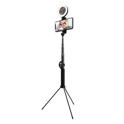 "Tzumi ONAIR Halo Selfie Stick 5"" Ring Light with Extendable 4' Tripod - Black - image 1 of 4"