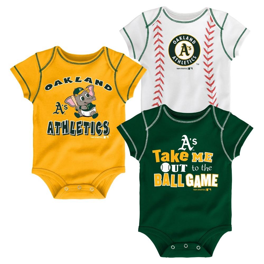 Oakland Athletics Boys' 3pk Bodysuit Crawlers 0-3 M, Size: 0-3M, Blue