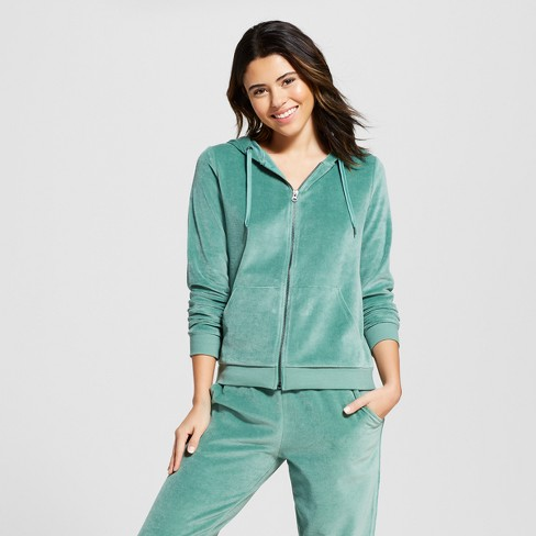 Women's Velour Sleep Zip-Up Hooded Sweatshirt - Xhilaration™ Green Breeze - image 1 of 2