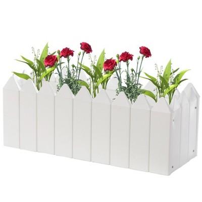 Gardenised Rectangular Traditional Fence Design Vinyl Planter Box