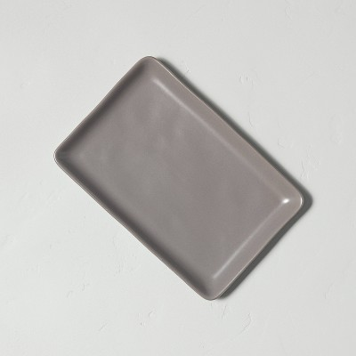 Stoneware Rectangular Serve Tray Matte Gray - Hearth & Hand™ with Magnolia
