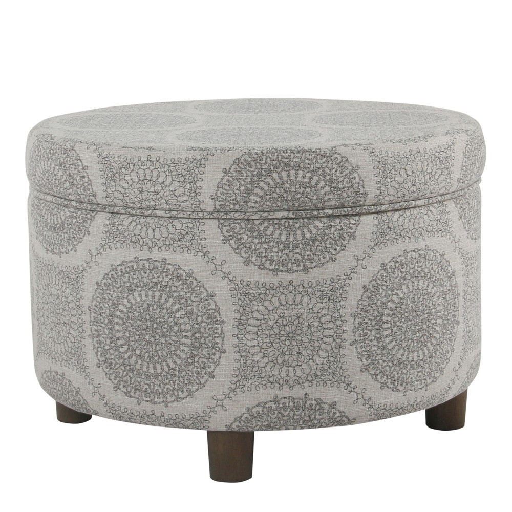 Round Storage Ottoman Gray Medallion - Homepop was $139.99 now $111.99 (20.0% off)