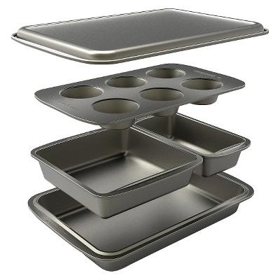 Baker's Secret 5 Piece Bakeware Set - Gray