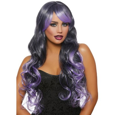 Dreamgirl Long Wavy Ombre Layered Wig (Black/Lavender)