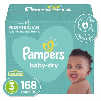 Pampers Baby Dry Disposable Diapers Enormous Pack - Size 3 (168ct)