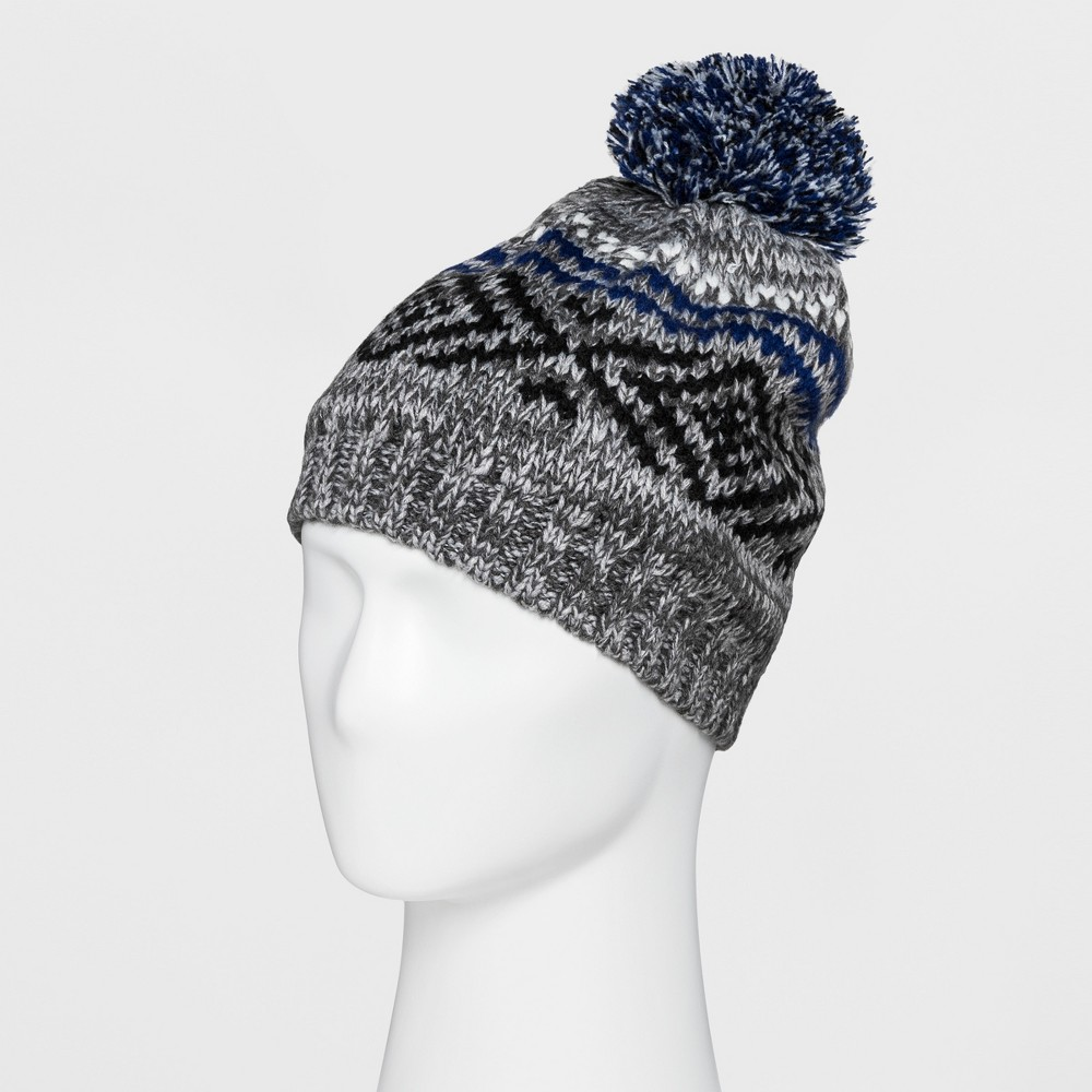 Men's Fairisle Beanie With Fleece Lined Beanies - Goodfellow & Co Grey/Blue One Size