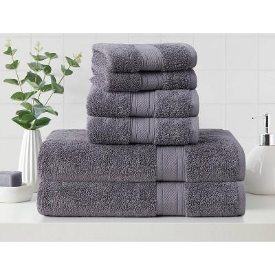6pk Low Twist Bath Towel Set with Enhanced Microban Ash Gray - Cannon