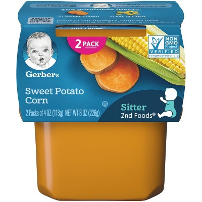 Gerber Sitter 2nd Foods Sweet Potato Corn Baby Meals Tubs - 2ct/4oz Each