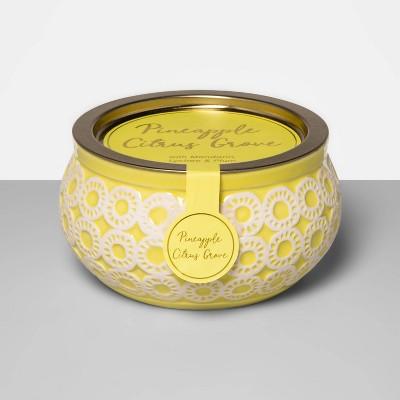 10oz Ceramic Jar 3-Wick Candle Pineapple Citrus Grove - Opalhouse™
