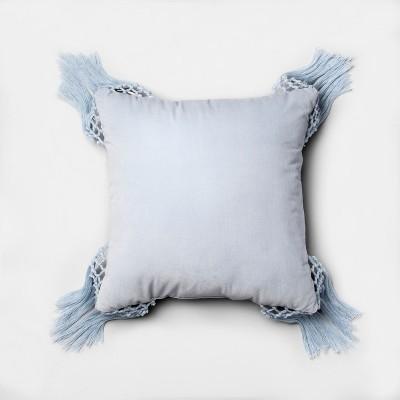 Blue Macrame Velvet Square Throw Pillow (18 x18 )- Opalhouse™