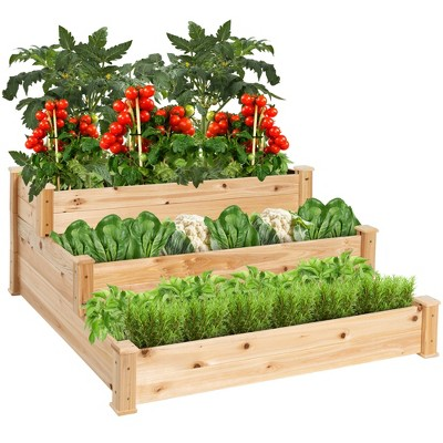 Best Choice Products 3-Tier Fir Wood Raised Garden Bed Planter Kit for Plants, Vegetables, Outdoor Gardening - Natural