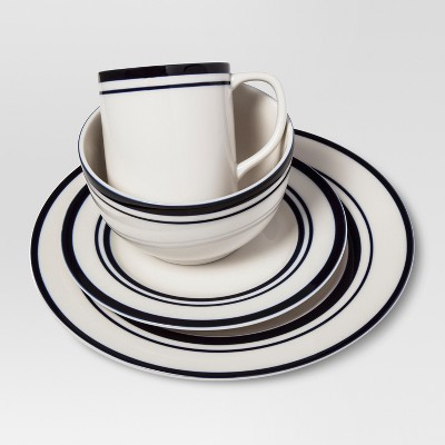 Cabot Stoneware Dinnerware Set 16pc White with Blue Rim - Threshold™