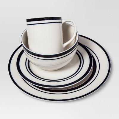 Cabot Stoneware Dinnerware Set 16pc White With Blue Rim   Threshold™