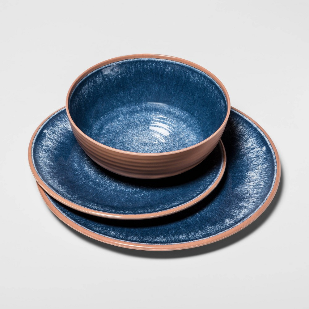 Image of 12pc Melamine Dinnerware Set Blue - Threshold