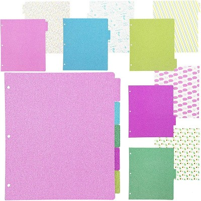 Paper Junkie 10 Sets White 3 Ring Glitter Paper Binder Dividers with 5 Tabs, 9.5 x 11 in