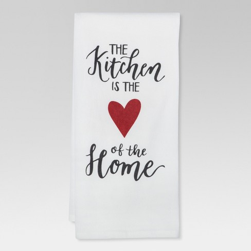 """28""""x18""""""""The Kitchen is the Heart of the Home"""" Kitchen Towel White - Threshold™ - image 1 of 1"""