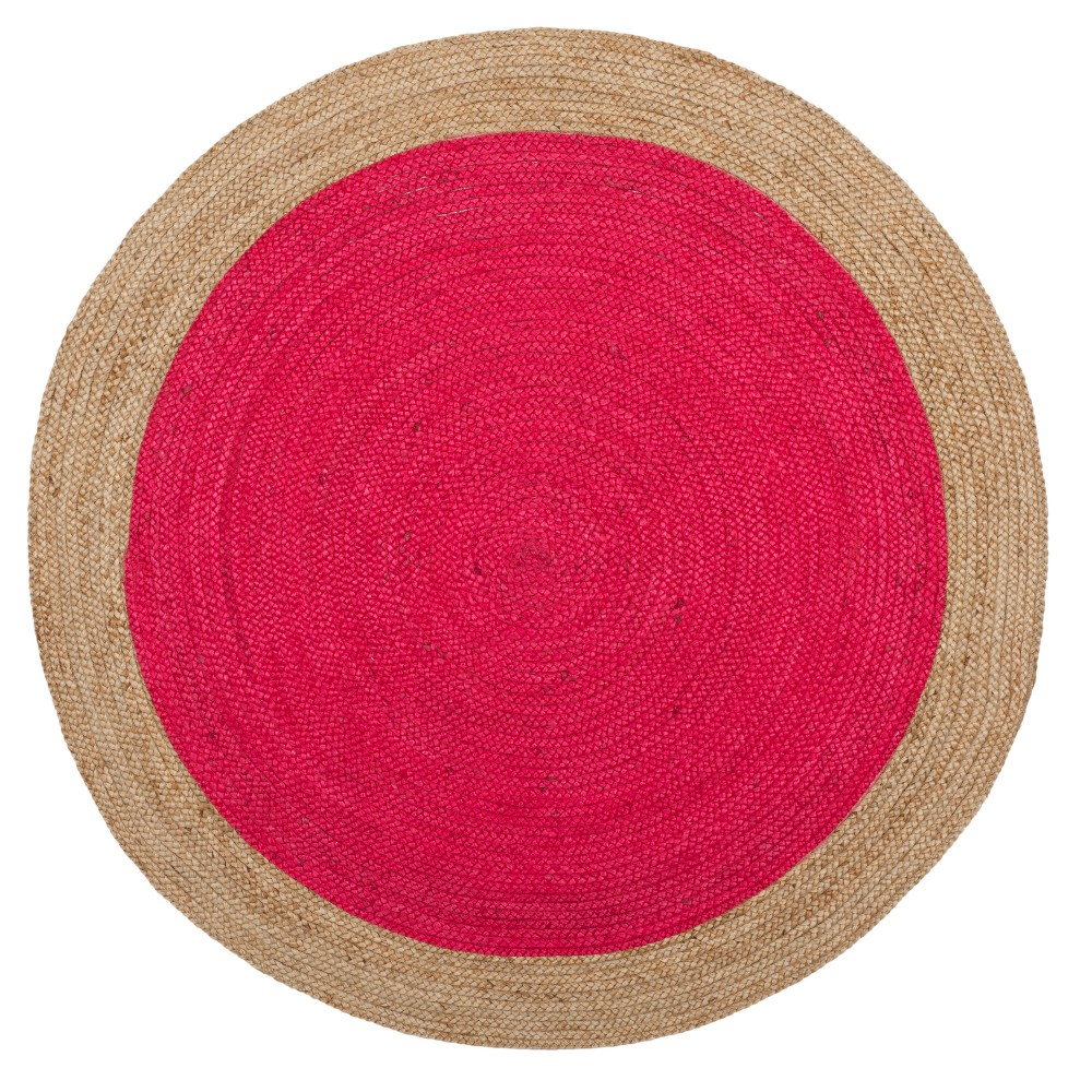 Fuchsia/Natural (Pink/Natural) Solid Woven Round Area Rug 6' - Safavieh