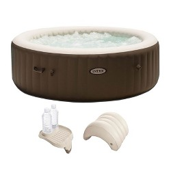 Intex PureSpa 6 Person Inflatable Spa Portable Hot Tub with Cupholder & Headrest