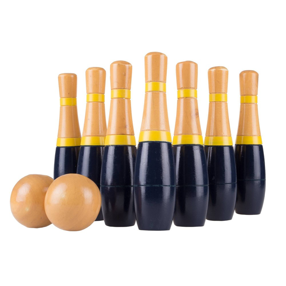 "Image of ""Hey! Play! Tall 8"""" Wooden Lawn Bowling Game - Blue/Gold"""