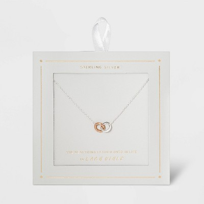Sterling Silver Linked Circle Necklace - Silver