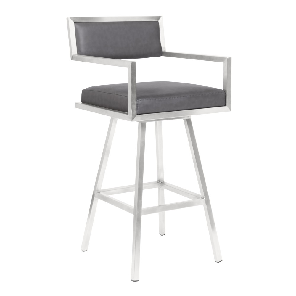 "Image of ""26"""" Armen Living Dylan Counter Height Barstool Vintage Gray"""
