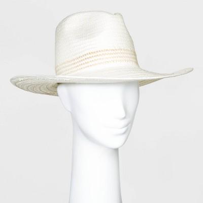 Women's Straw Wide Brim Fedora Hats - Universal Thread™ White One Size