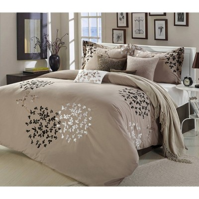 Queen 8pc Chelsia Comforter Set Taupe - Chic Home Design