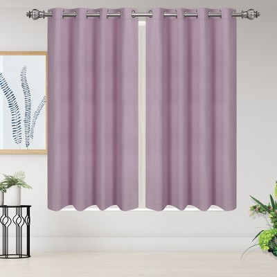 2 Pcs 52 x 63 Inch Solid Blockout Thermal Insulated Grommet Curtain Panels Purple - PiccoCasa