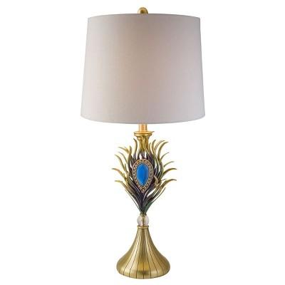 OK Lighting Peacock Plume Table Lamp