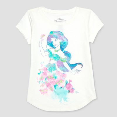 view Girls' Disney Princess Jasmine Watercolor Short Sleeve T-Shirt - Ivory on target.com. Opens in a new tab.