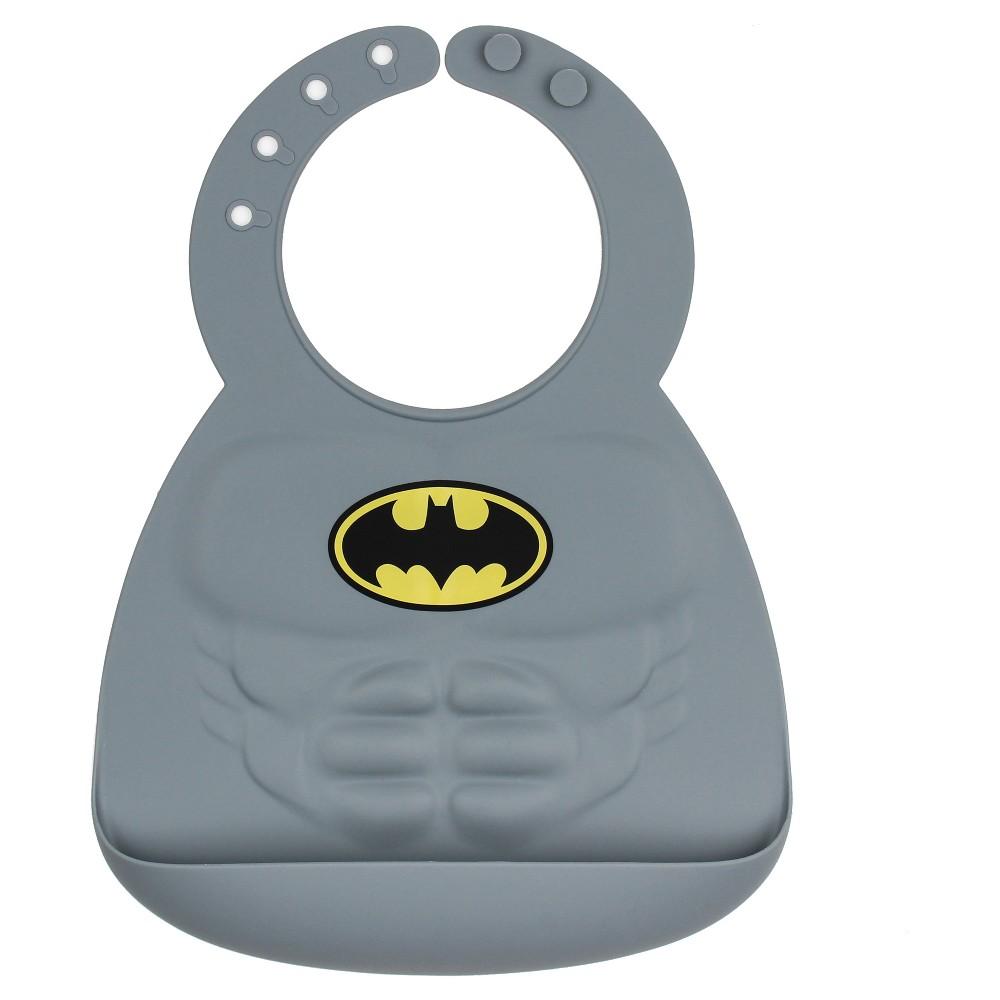 Image of Bumkins DC Comics Silicone Muscle Bib - Batman, Gray