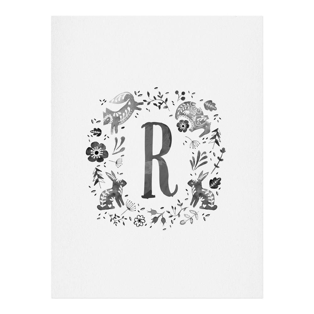 "Image of ""11""""x14"""" Wonder Forest Folky Forest Monogram Letter """"R"""" Art Print Unframed Wall Poster Gray - Deny Designs"""