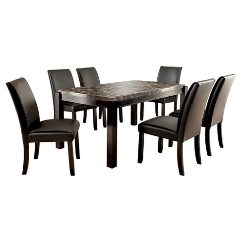 Iohomes 7pc Marble Top Dining Set Black Target