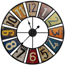 """24"""" Vintage License Plates Round Wall Clock - Gallery Solutions"""