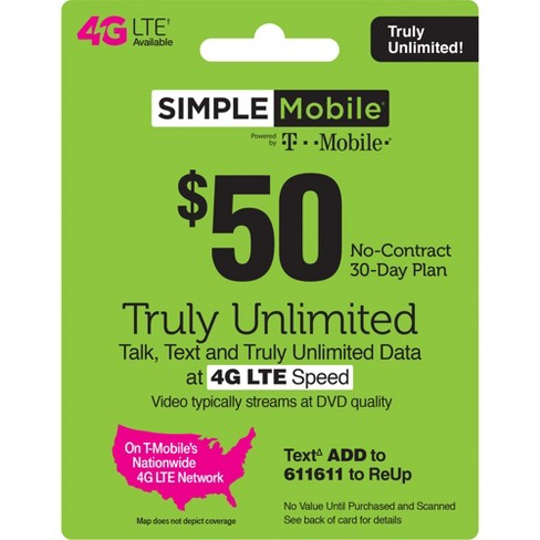 Simple Mobile $50 Unlimited Talk Text Data Prepaid Card (Email Delivery)