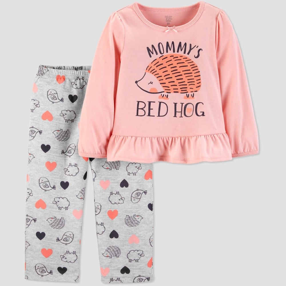 Toddler Girls' 2pc Bed Hog Fleece Pajama Set - Just One You made by carter's Pink 3T