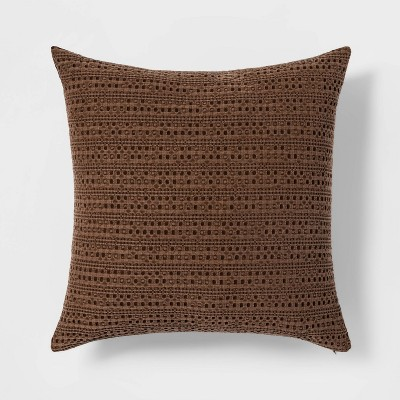Oversize Washed Waffle Square Throw Pillow Brown - Threshold™