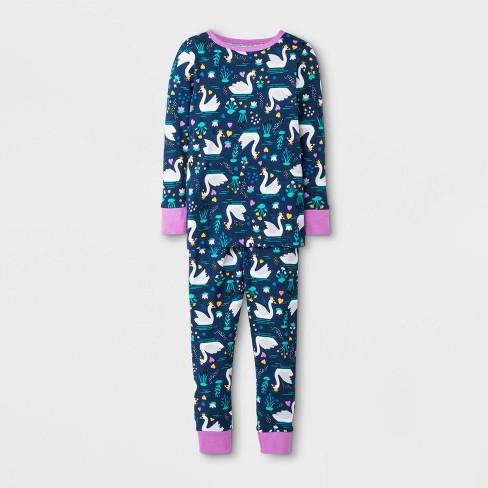 Toddler Girls' Swan Pajama Set - Cat & Jack™ Blue - image 1 of 1