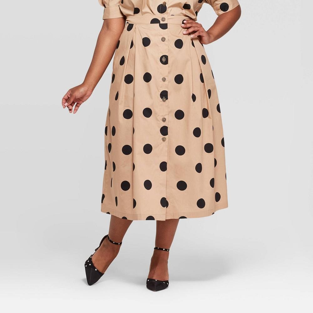 Women's Plus Size Polka Dot Button Front A-Line Midi Skirt - Who What Wear Khaki/Black (Green/Black) 14W