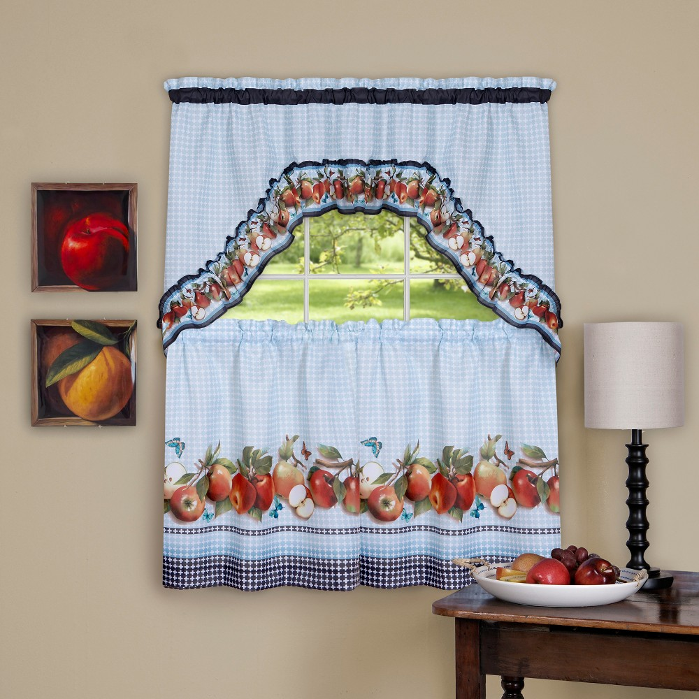 Golden Delicious Printed Tier & Swag Window Curtain Set Ice Blue 57x24 - Achim, Blue Red White