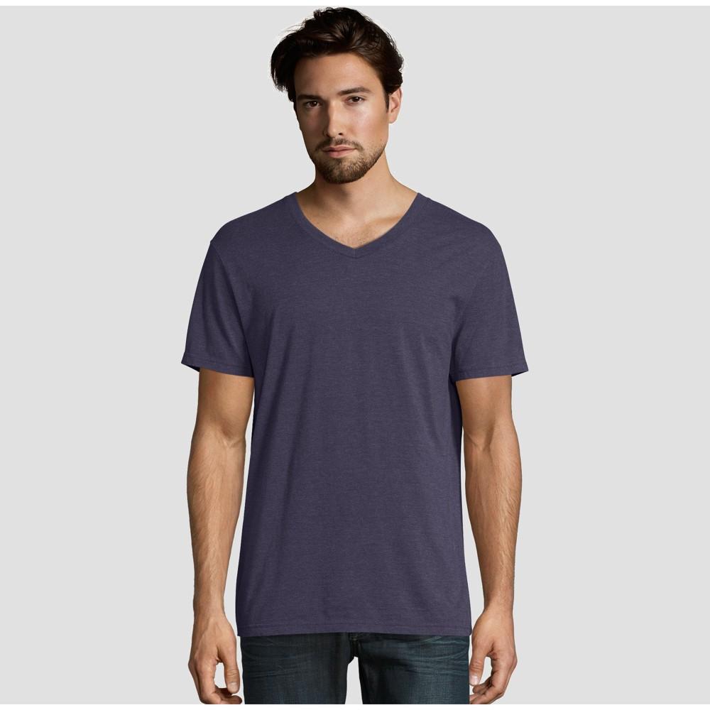 0694058214f5 Hanes Premium Mens Short Sleeve Black Label V Neck T Shirt Navy Blue 2XL