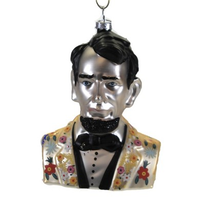 """Holiday Ornament 4.5"""" Hipster Abe Lincoln Historical Retro Floral  -  Tree Ornaments"""