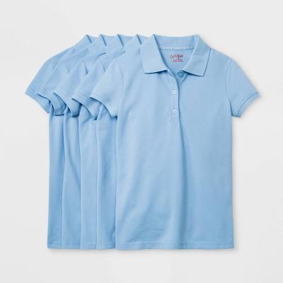 Girls' 5pk Short Sleeve Stretch Pique Uniform Polo Shirt - Cat & Jack™ Light Blue