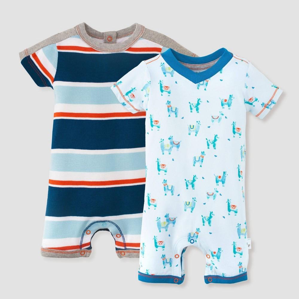 Image of Burt's Bees Baby Baby Boys' 2pk Local Stripe Romper Set - Blue 0-3M, Boy's